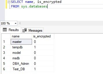 Check transparent data encryption state of tempdb and user database after enabling it