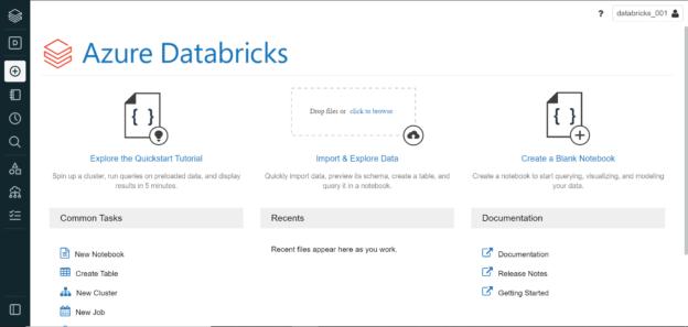 Databricks workspace home page