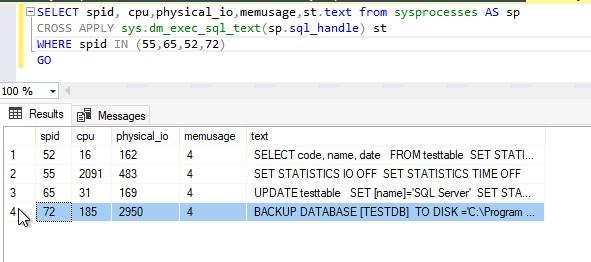 sysprocesses details for BACKUP DATABASE statement after encryption
