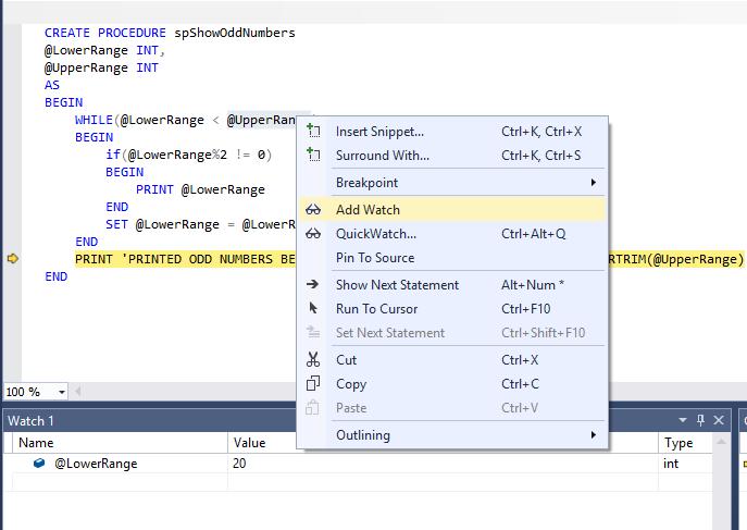 Debugging stored procedures in SQL Server Management Studio (SSMS)