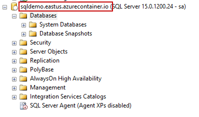 Azure PowerShell module - SSMS view of Azure Container Instance