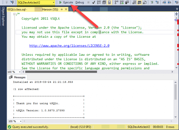 sql developer unit testing - Installing tSQLt framework by running its script against the sample database