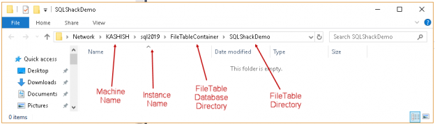 SQL FILETABLE root folder structure