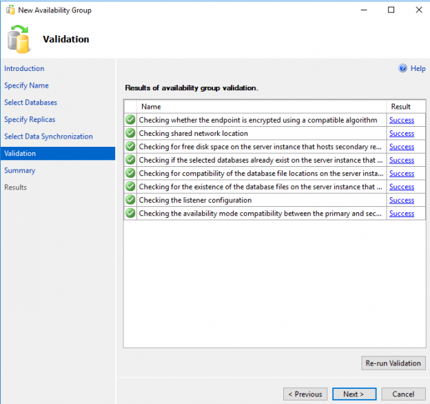 SQL Server AlwaysOn High Availability - new availability group validation