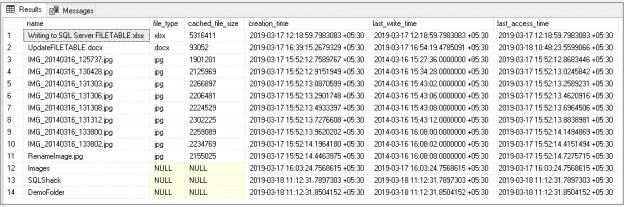 SQL Server FILETABLE objects