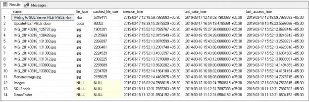 SQL Server FILETABLE objects