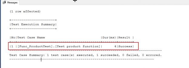 tSQLt framework unit test result