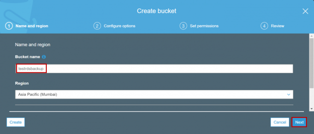 AWS RDS SQL Server migration - Creating S3 Bucket.