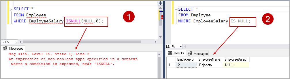 SQL ISNULL function