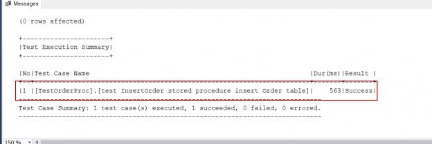 SQL Unit testing results with tSQLt