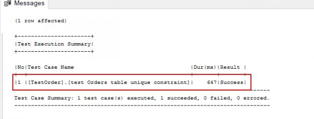 SQL unit testing - tSQLt framework tsqlt.ExpectException result image