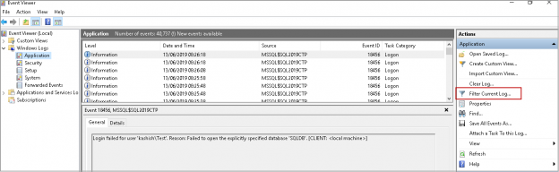 Get SQL Server Port using Windows Event viewer