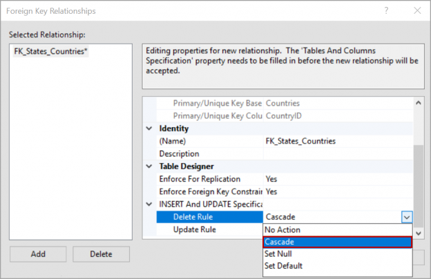 cascade as delete rule on a foreign key in SQL Server