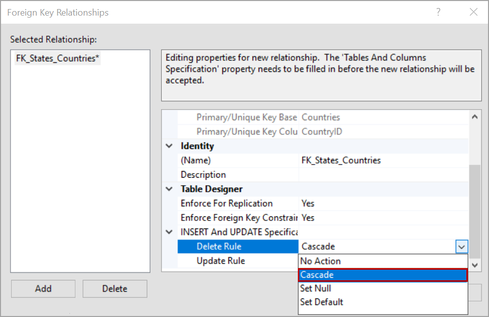 DELETE CASCADE and UPDATE CASCADE in SQL Server foreign key
