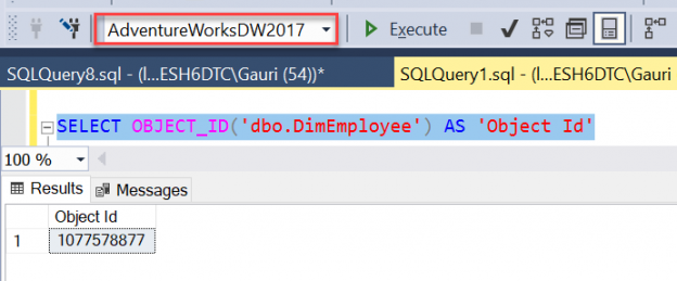 Object_Id() metadata function in SQL Server.