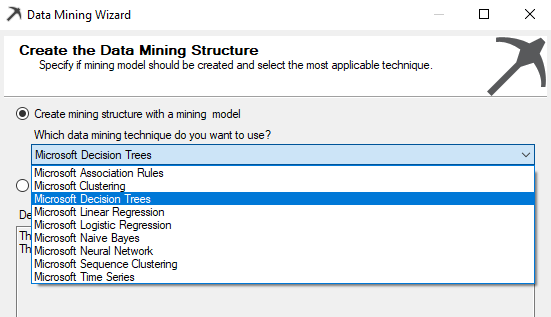 Selecting the mining struture from the available list