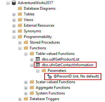 SQL Server Management Studio table-valued functions location