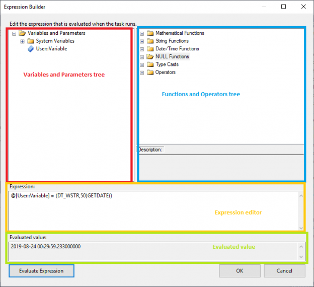 This image shows a screenshot of the SSIS expression builder