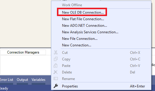 This image shows how to add an OLE DB Connection manager from Visual studio
