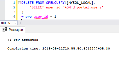 DELETE MySQL Statement(TSQL)
