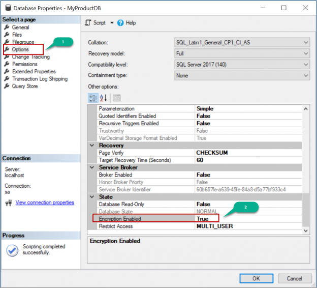 enabling Transparent Data Encryption (TDE) using SSMS
