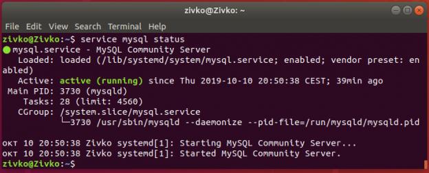 Linux Ubuntu 18.4 terminal - status of MySQL