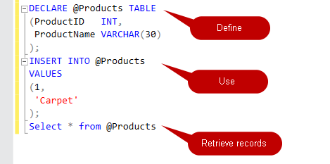 SQL Table Variables