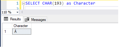T-SQL statement for ASCII to Char