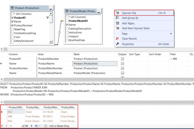 Execute the view in SSMS