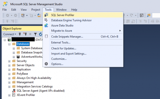 running SQL Server Profiler from the Management Studio