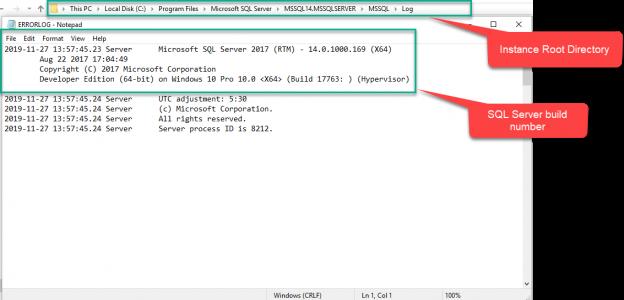 SQL Server version number in ERRORLOG file