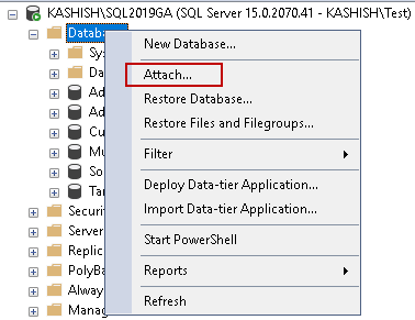 Attach a SQL Database in SSMS