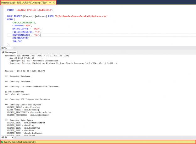Database install script