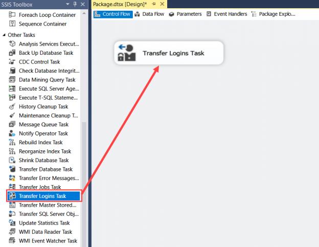 SSIS Transfer Login task