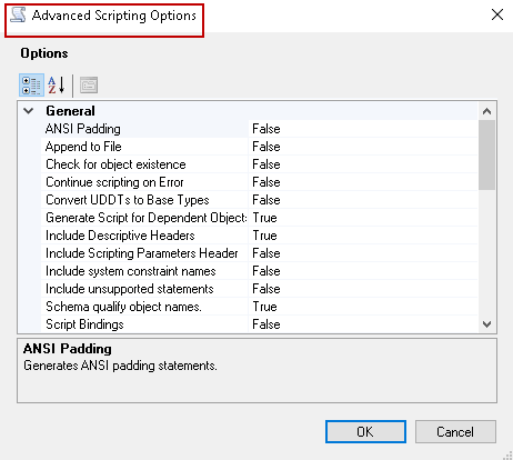 Advanced Scripting Options.