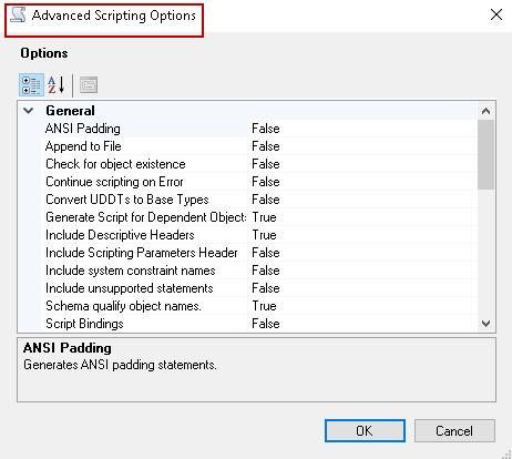 Advanced Scripting Options.