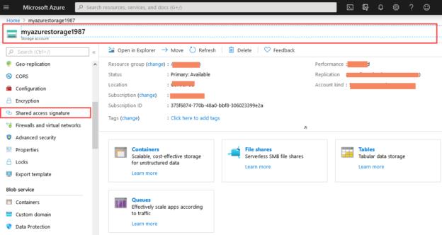 Azure blob storage home page