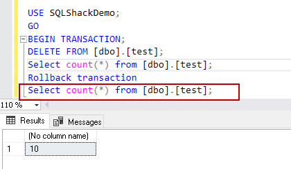 check the records count after SQL delete