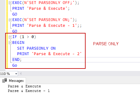 dynamic execution conditions for PARSEONLY SQL command