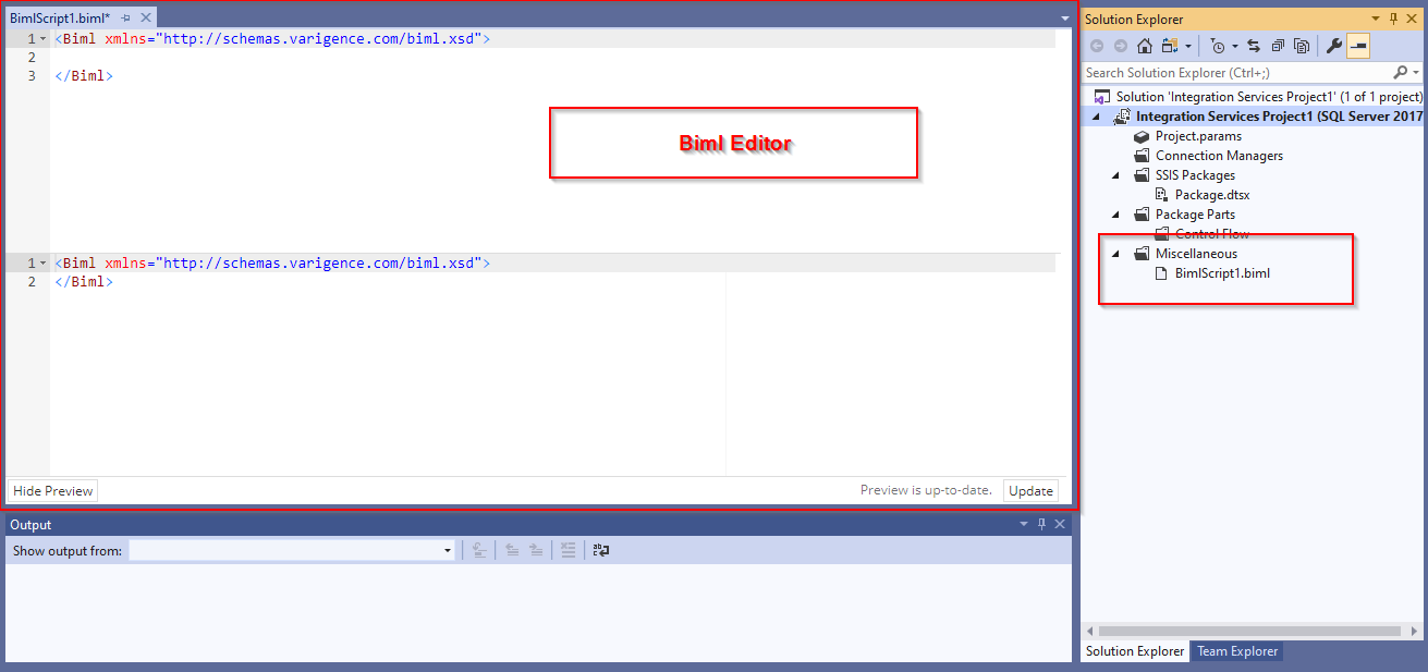 Generated Biml script file and Biml Editor window
