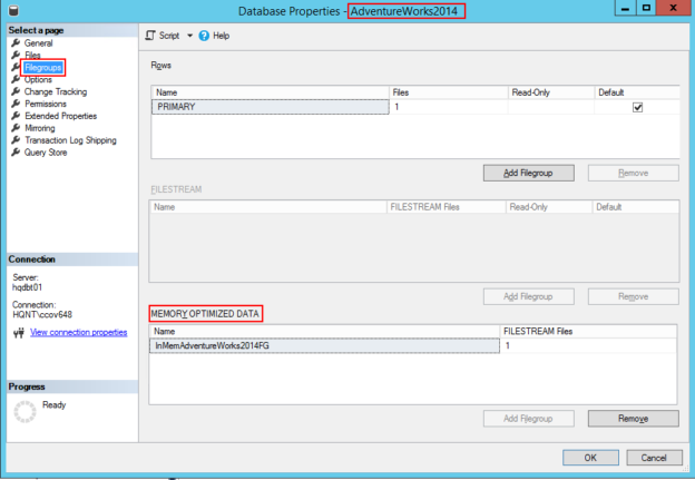 Identify memory_optimized_data option using SSMS