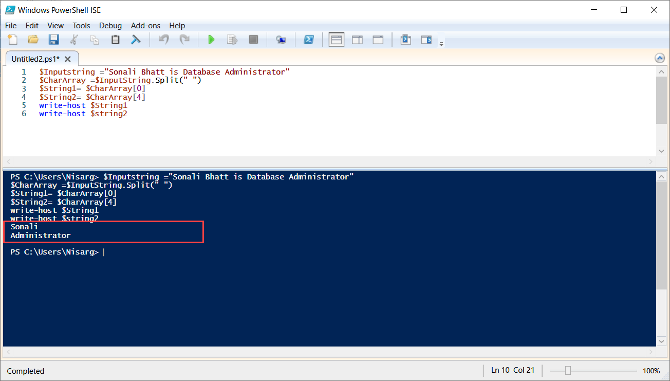 PowerShell script to save the output of array in variable