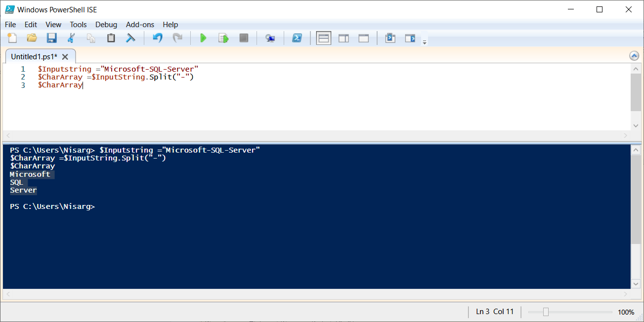PowerShell script to split string into an array using .split()