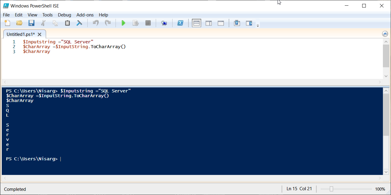 PowerShell script to split string into an array using .ToCharArray()