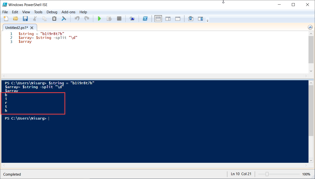 PowerShell script to split string into array: Array of characters from arbitrary string