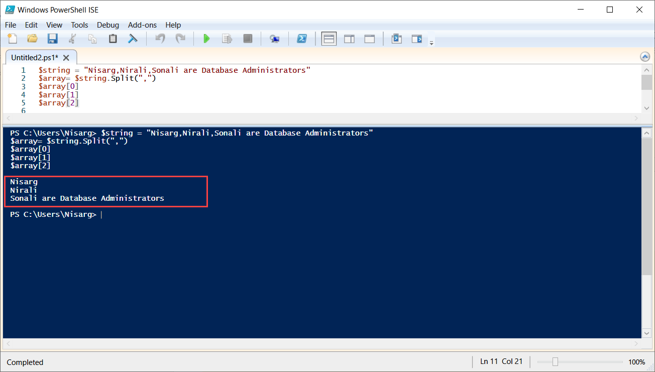 PowerShell script to split string into array: Array of Multiple substrings