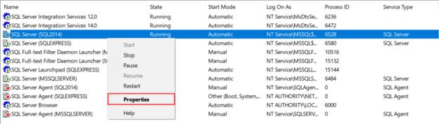 SQL Server service properties