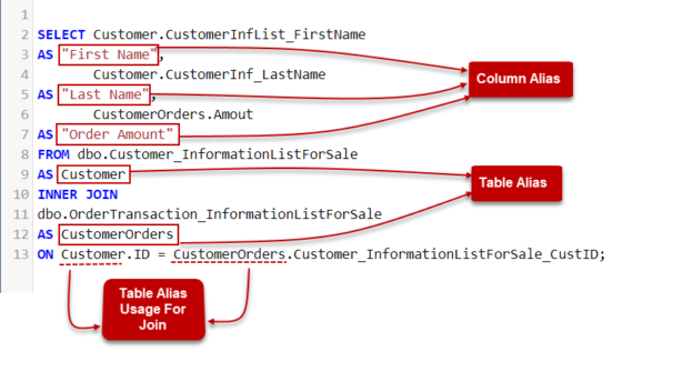 Using SQL AS keyword and JOIN clause.