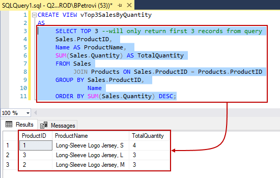 An executed CREATE VIEW SQL script showing data returned only for the SELECT statement in SSMS