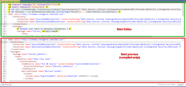 Biml code editor and preview in Visual studio